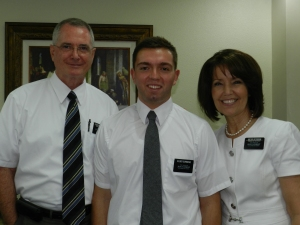Tyler and his mission president, George Peterson, and his wife Kathryn.