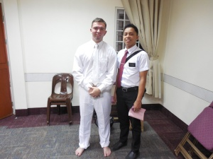 Elder Burbidge and his companion prior to Janine's baptism.