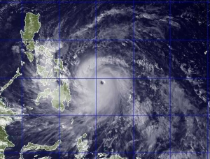 Tyler is located on the northernmost island (Luzon) visible on the image above.  They felt very little effect of the Typhoon Haiyan.