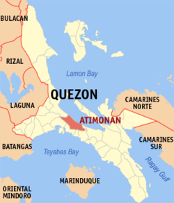 Map of Quezon Province showing location of Atimonan.