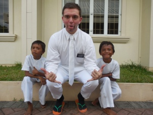 Elder Burbidge and the twins being goofy!