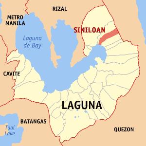 Location of Siniloan in the Laguna Province.