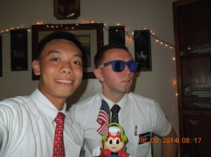 Elder Burbidge and his companion sporting his cool shades.