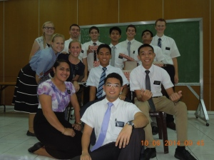 Elder Burbidge and his group of missionaries.
