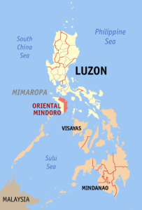The Island of Mindoro is just South of the main island of Luzon.