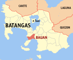 A Map of the City of Bauan in Batangas Province